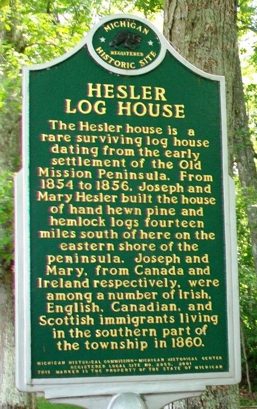 Hesler Log House Marker (Side A) image. Click for full size.