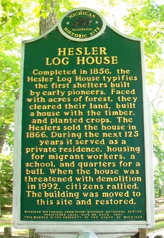 Hesler Log House Marker (Side B) image. Click for full size.