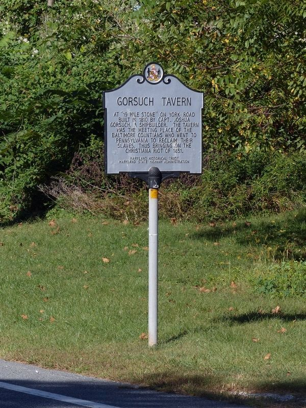 Gorsuch Tavern Marker<br>on the York Road image. Click for full size.