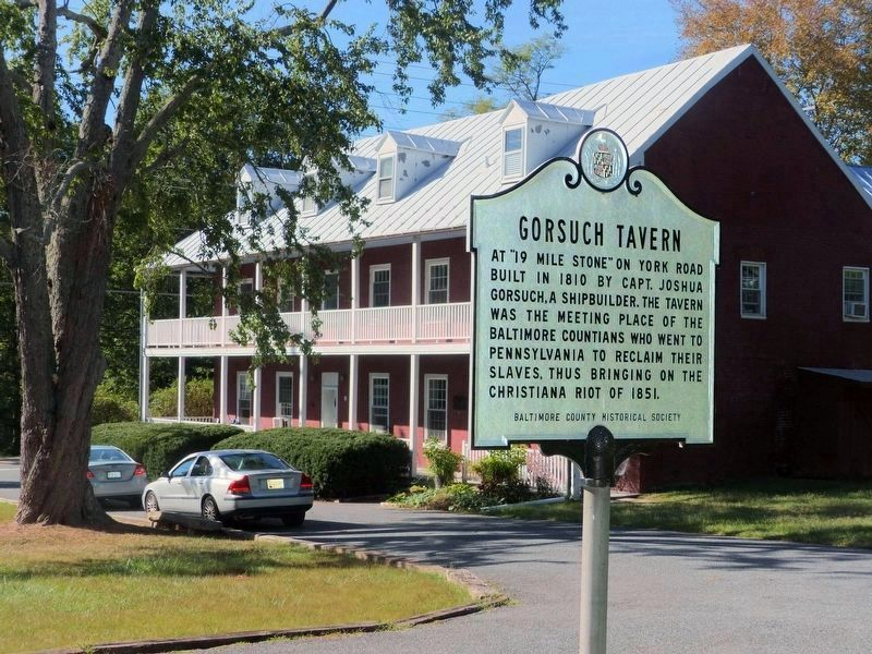 Gorsuch Tavern Marker<br>at the east end of the parking lot image. Click for full size.