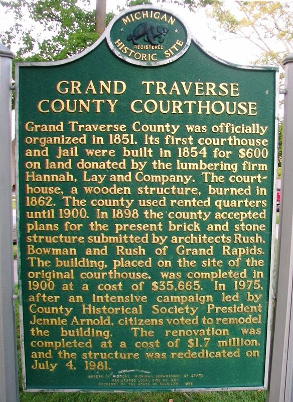 Grand Traverse County Courthouse Marker image. Click for full size.