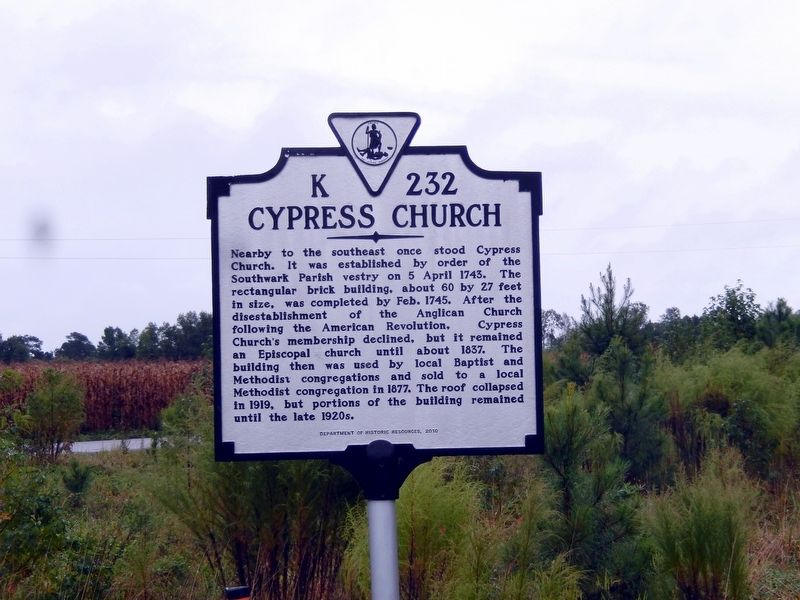 Cypress Church Marker image. Click for full size.
