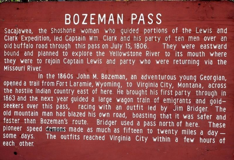 The previous version of the Bozeman Pass Marker image. Click for full size.