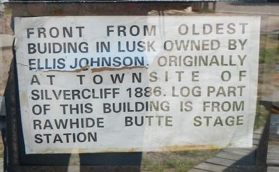 Oldest Building in Lusk Marker image. Click for full size.