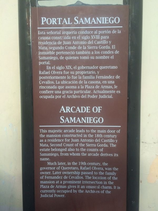 Arcade of Samaniego Marker image. Click for full size.