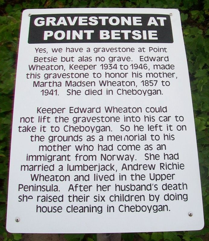Gravestone at Point Betsie Marker image. Click for full size.