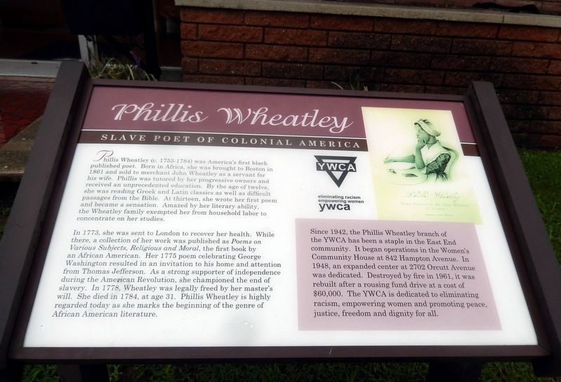 Phillis Wheatley Marker image. Click for full size.