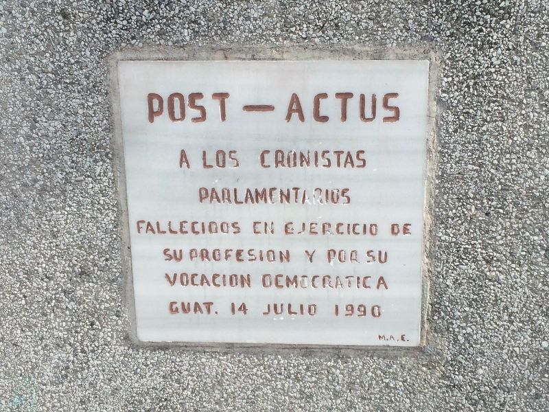 Fallen Guatemalan Congressional journalists additional marker from 1990 image. Click for full size.