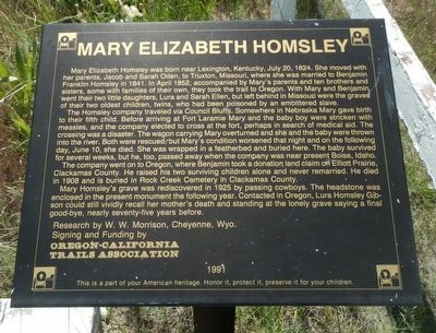 Mary Elizabeth Homsley Marker image. Click for full size.