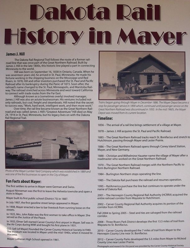 Dakota Rail History in Mayer Marker image. Click for full size.