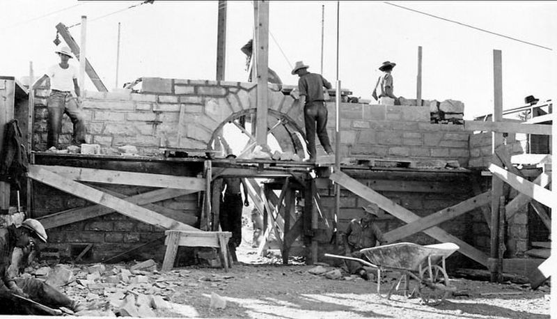 Civilian Conservation Corps workers constructing the Guernsey museum image. Click for full size.