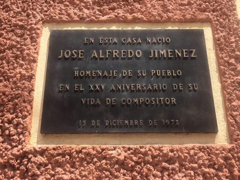 Birthplace of José Alfredo Jiménez Marker image. Click for full size.