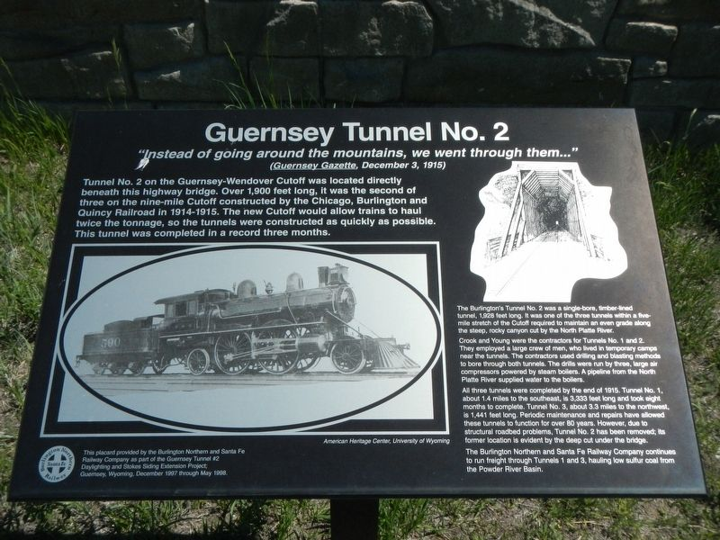 Guernsey Tunnel No. 2 Marker image. Click for full size.