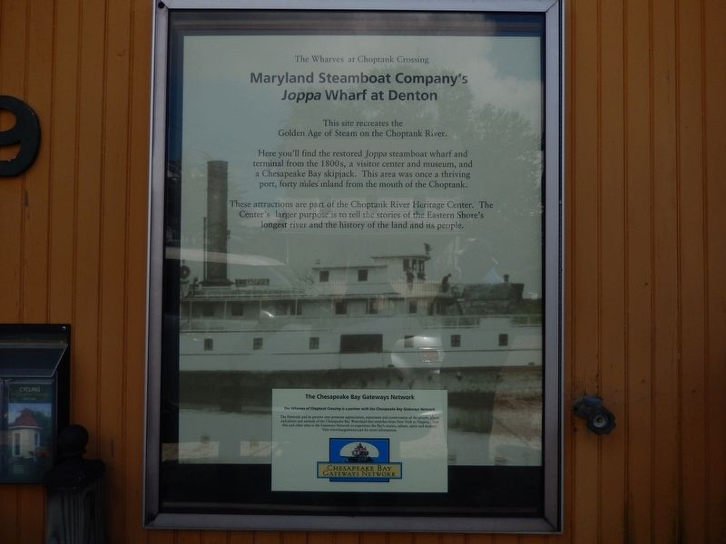 Maryland Steamboat Company's Joppa Wharf at Denton Marker image. Click for full size.
