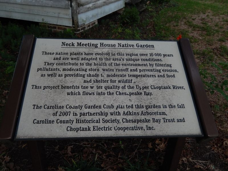 Neck Meeting House Native Garden Marker image. Click for full size.