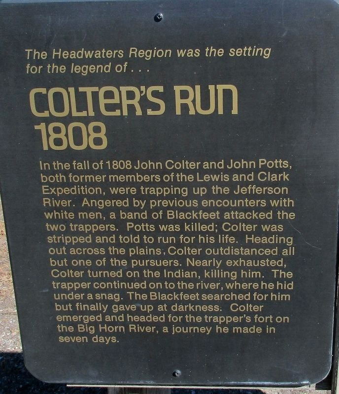 Colter's Run Marker image. Click for full size.