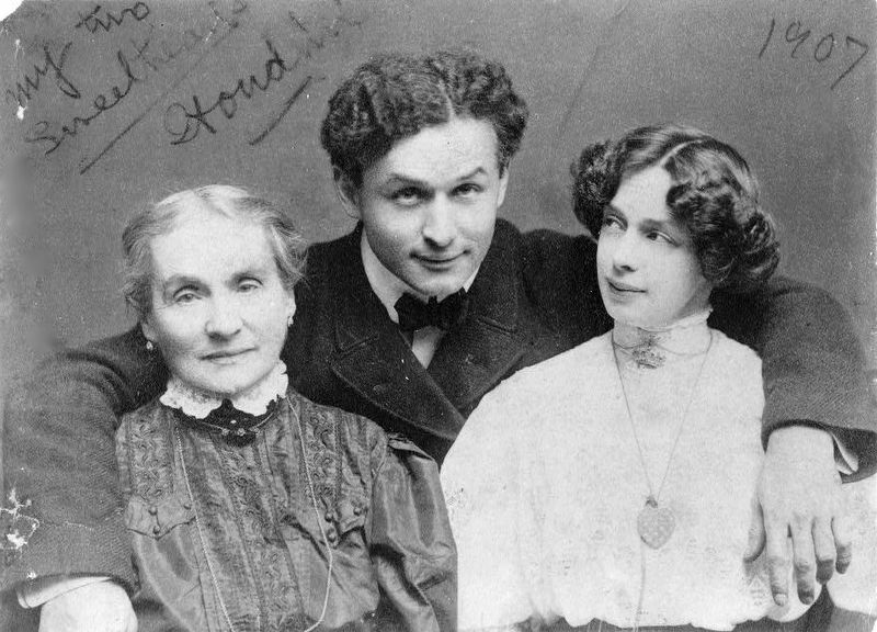 <i>Harry Houdini with his wife Beatrice and mother Cecilia Steiner Weiss, half-length portrait</i> image. Click for full size.
