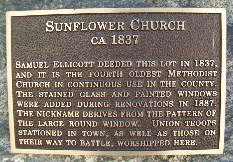 Sunflower Church Marker image. Click for full size.