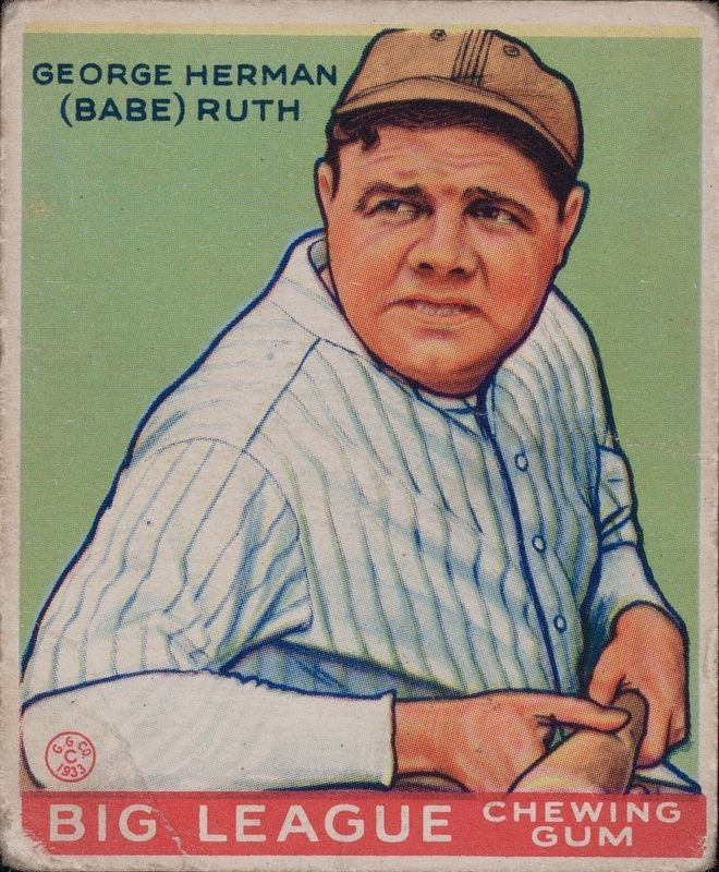 "George Herman ""Babe"" Ruth Big League Chewing Gum Card image. Click for full size."