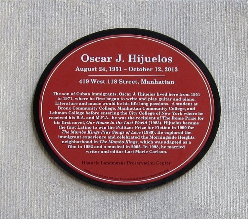 Oscar J. Hijuelos Marker image. Click for full size.
