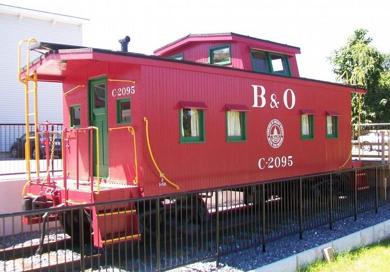 B&O Wooden Caboose Displayed Next to Mount Airy Rail Yard and Mills Markers image. Click for full size.