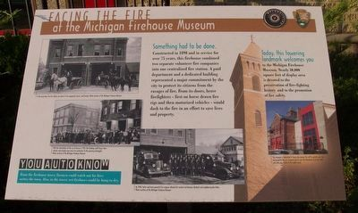 Facing the Fire at the Michigan Firehouse Museum Marker image. Click for full size.