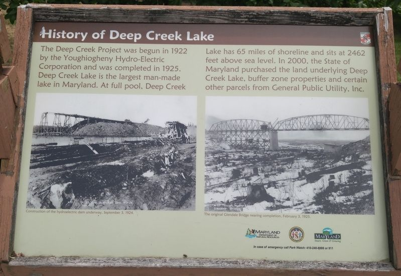 History of Deep Creek Lake Marker image. Click for full size.
