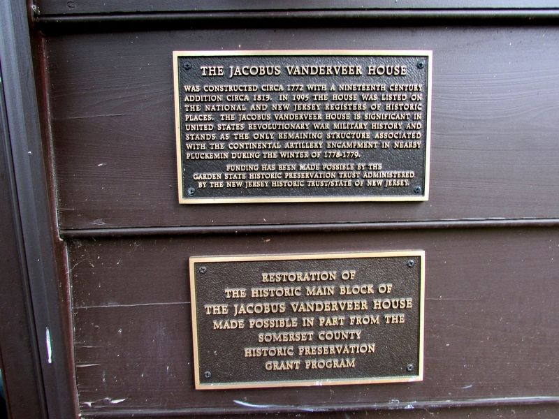 The Jacobus Vanderveer House Marker image. Click for full size.