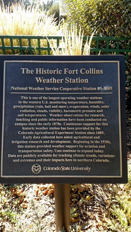 The Historic Fort Collins Weather Station Marker image. Click for full size.