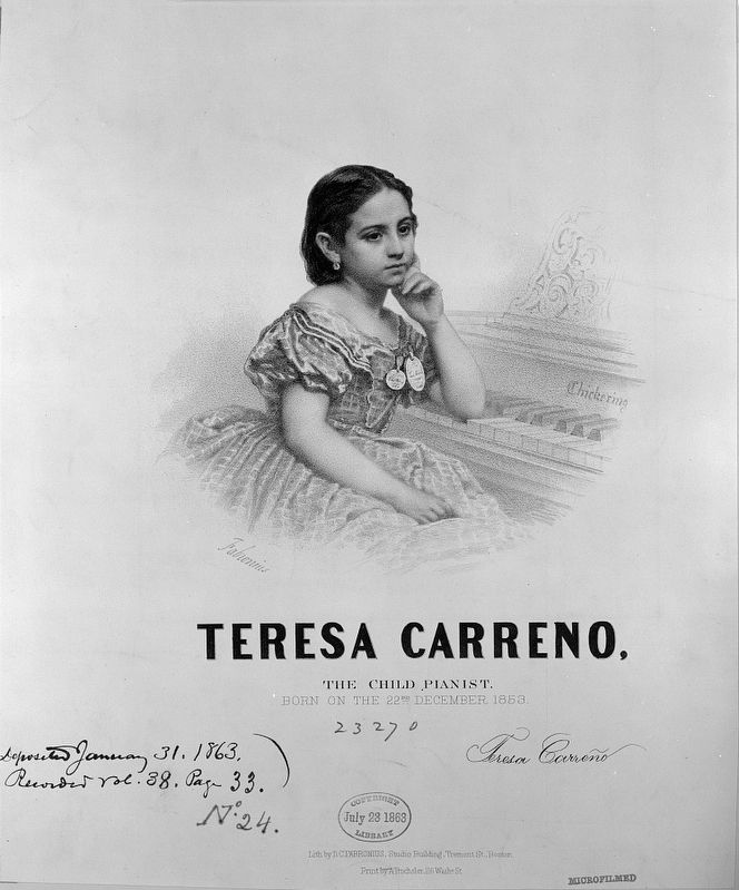 <i>Teresa Carreno, the child pianist: Born on the 22nd December 1853</i> image. Click for full size.