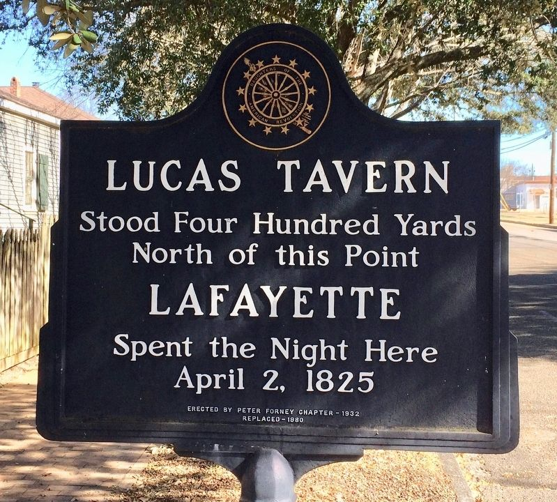 Another nearby Lucas Tavern marker on south side of building. image. Click for full size.