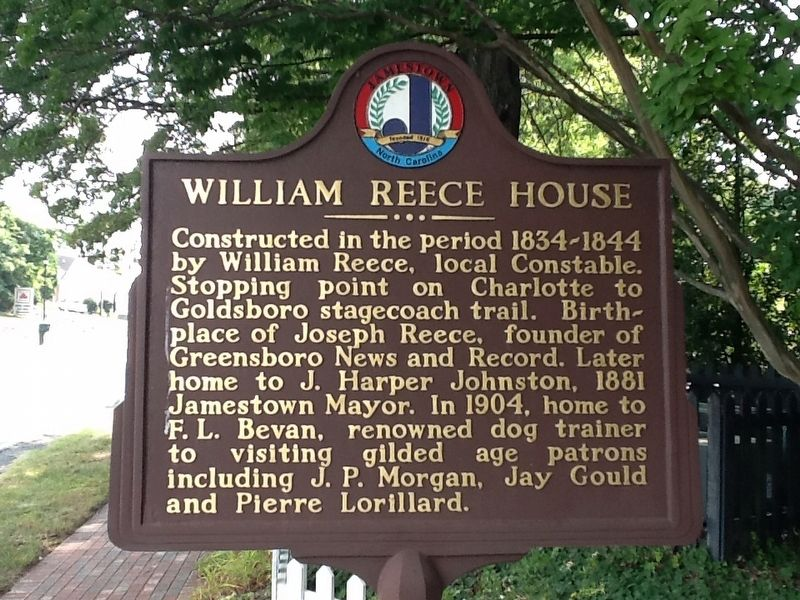 William Reece House Marker image. Click for full size.