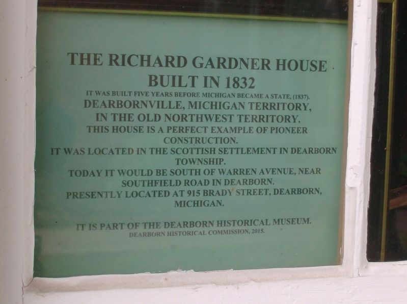 The Richard Gardner House Marker image. Click for full size.