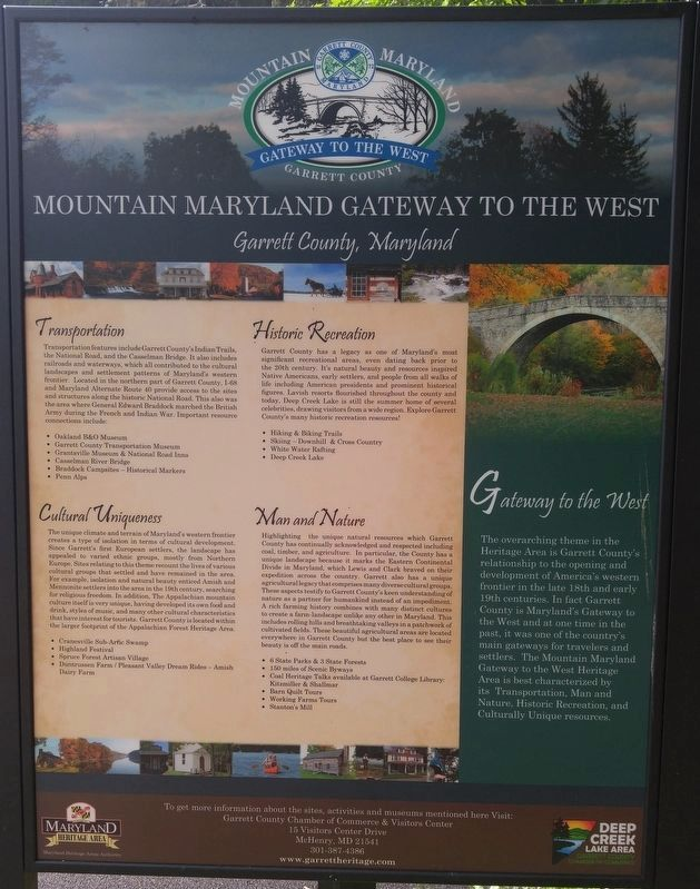 Mountain Maryland Gateway to the West Marker image. Click for full size.
