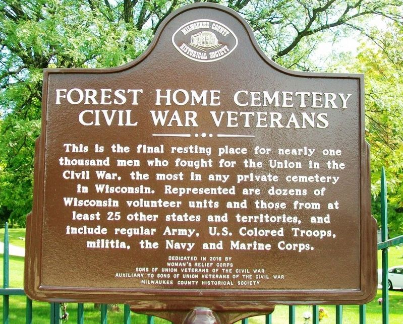 Forest Home Cemetery Civil War Veterans Marker image. Click for full size.