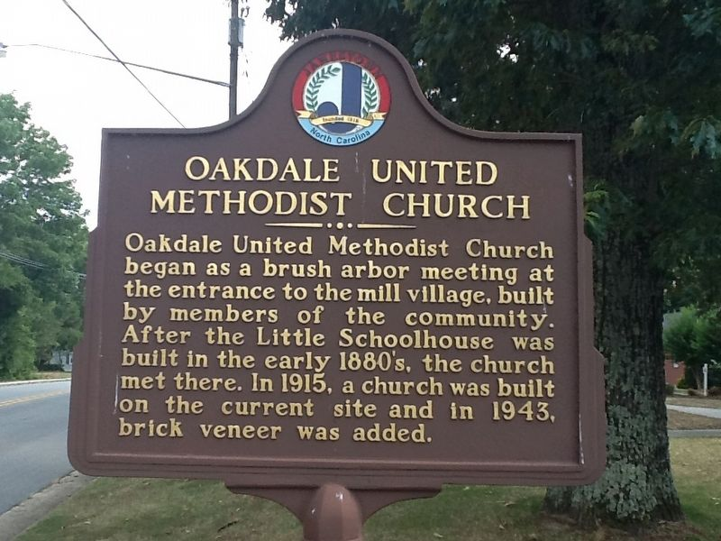 Oakdale United Methodist Church Marker image. Click for full size.