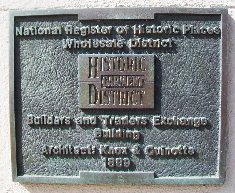 Builders and Traders Exchange Building Marker image. Click for full size.