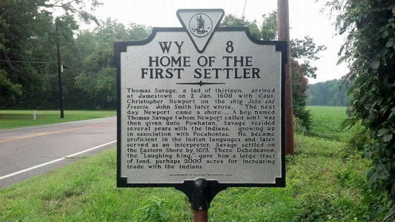 Home of the First Settler Marker image. Click for full size.