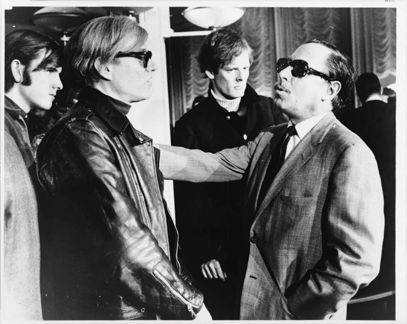 <i>Andy Warhol (left) and Tennessee Williams (right) talking on the S.S. France</i> image. Click for full size.