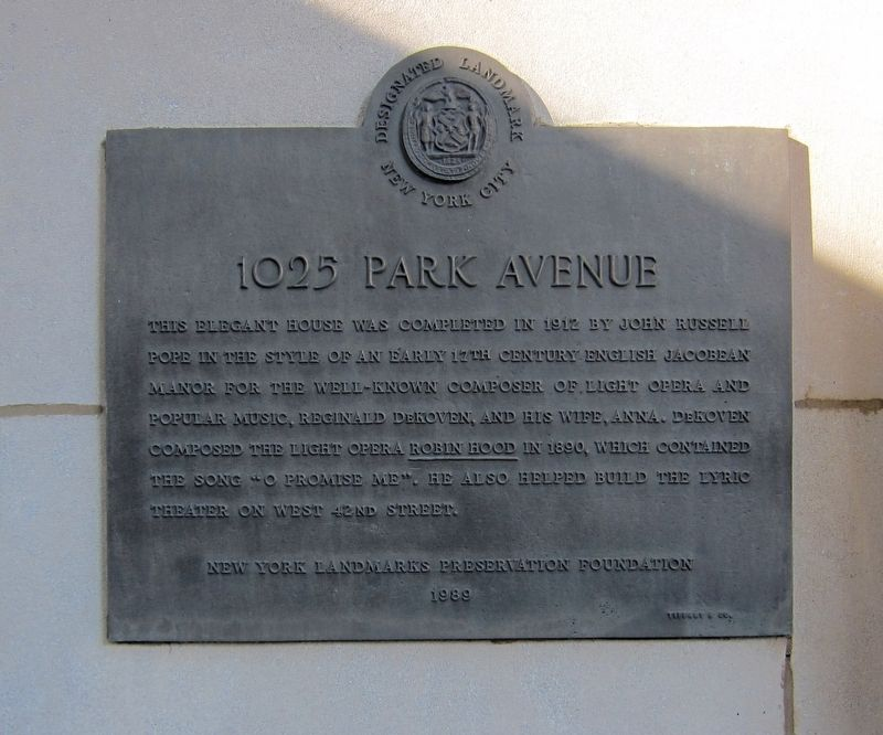 1025 Park Avenue Marker image. Click for full size.