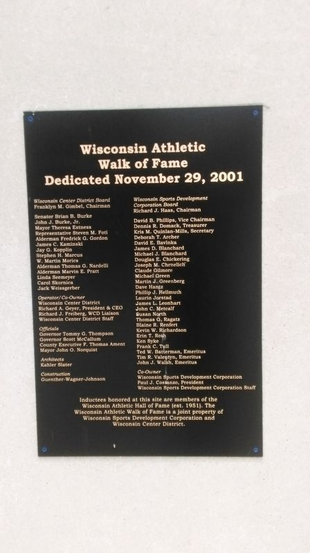 Wisconsin Athletic Walk of Fame Plaque image. Click for full size.
