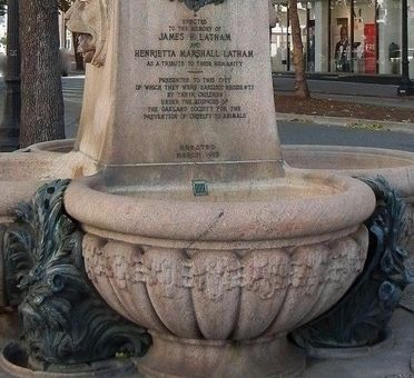 Latham Memorial Fountain showing 200 lb ornamentation at base of fountain. image. Click for full size.