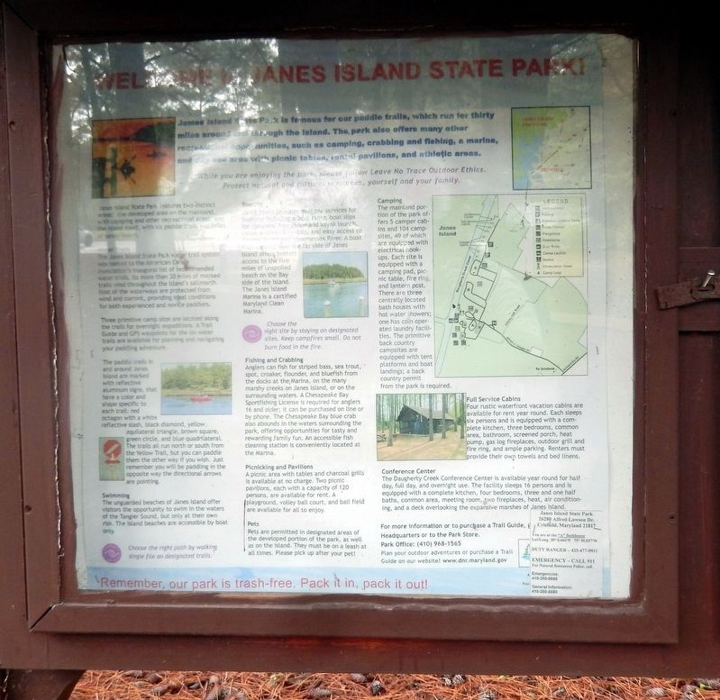 Welcome to Janes Island State Park billboard image. Click for full size.