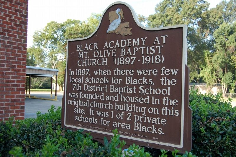 Black Academy At Mt. Olive Baptist Church Marker image. Click for full size.