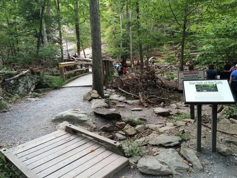 A wide-view photo of the additional marker, near the falls. image. Click for full size.