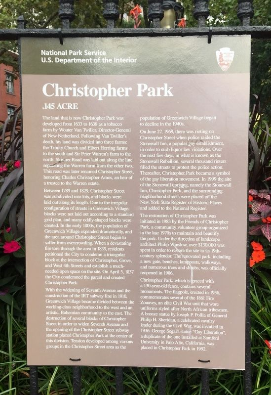 Christopher Park Marker image. Click for full size.