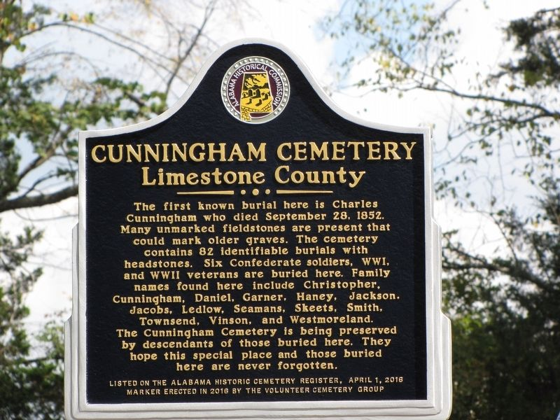 Cunningham Cemetery Marker image. Click for full size.