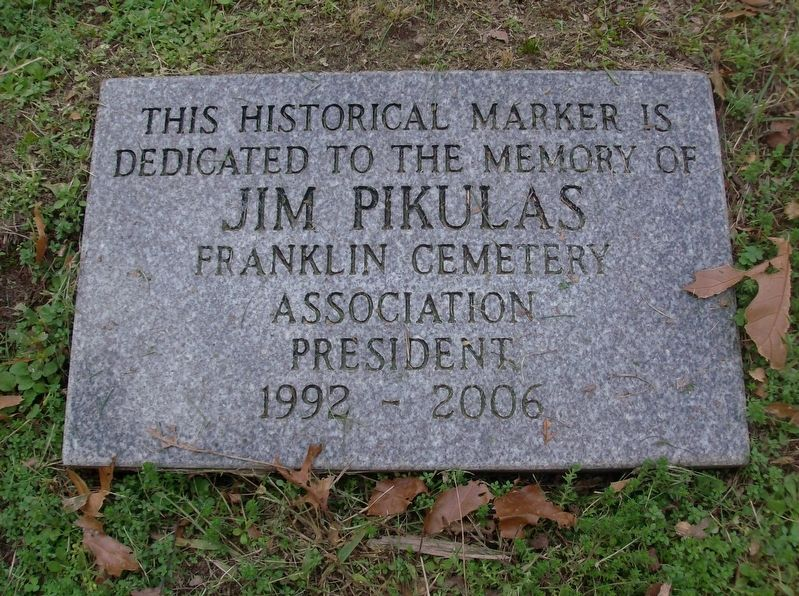 Franklin Cemetery Marker Dedication Stone image. Click for full size.