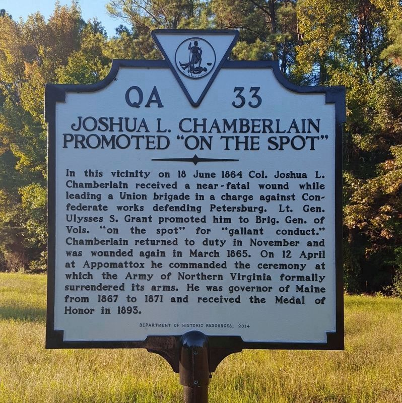 "Joshua L. Chamberlain Promoted ""On The Spot"" Marker image. Click for full size."