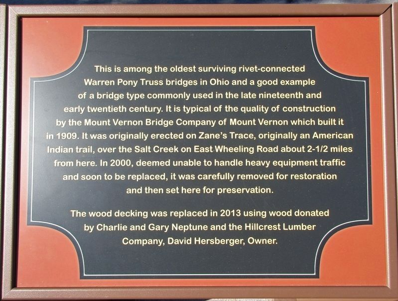 Warren Pony Truss Bridge Marker image. Click for full size.